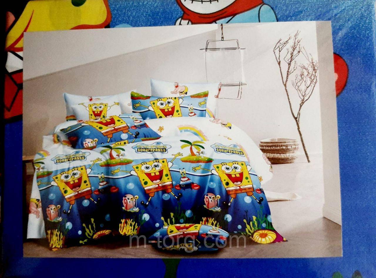 """""""губка боб"""" полуторний комплект постільної білизни 150/220 з дитячим малюнком, тканина сатин 100% бавовна"""