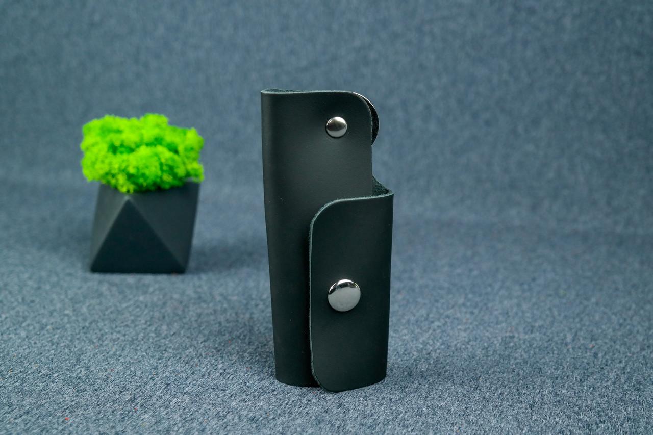 Ключниця на кнопці №16, шкіра Grand, колір Чорний