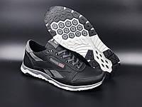 Чоловічі шкіряні кросівки Reebok - демісезонні чорні кросівки рібок для чоловіків