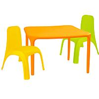 Детский стол для творчества + 2 стула Разноцветные 18-100-12, КОД: 1130265
