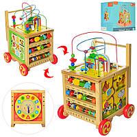Деревянная игрушка Центр развивающий MD 2143 (4шт) каталка, лабиринт,часы, счеты,в кор, 29-32,5-28см