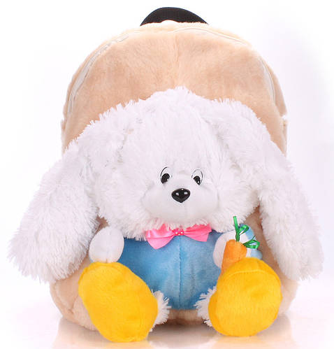Рюкзак детский с Зайкой Poolparty backpack-rabbit-white бежевый
