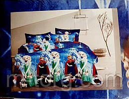 """""""холодне серце"""" полуторний комплект постільної білизни 150/220 з дитячим малюнком, тканина сатин 100% бавовна"""
