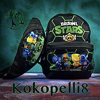 Рюкзак и бананка Brawl Stars (Бравл Старс) черно-зеленый