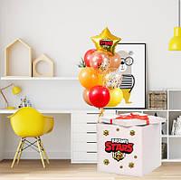 """Коробка-сюрприз 70х70см з Гелієвими кульками + наклейками + декор в тематиці """"Бравл Старс"""""""
