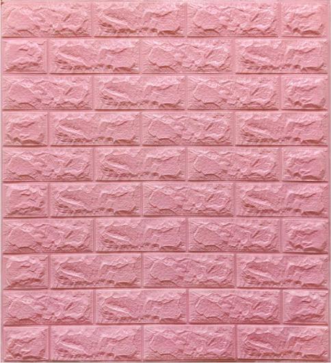 Самоклеющиеся 3Д панели, декоративные стеновые панели 7 мм, Розовый кирпич