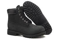 Чорні Тімберленди чоловічі черевики Classic Timberland 6 inch Black Boots чоловічі черевики осінь зима, фото 1