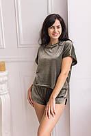 Піжама жіноча плюш V. VELIKA хакі (футболка+шорти) велюрова, фото 1
