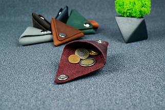 Шкіряна монетниця, Вінтажна шкіра, колір Бордо, фото 2
