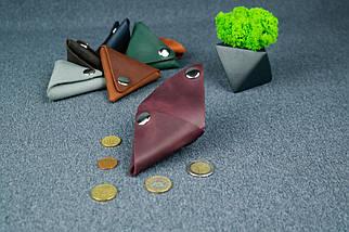 Шкіряна монетниця, Вінтажна шкіра, колір Бордо, фото 3