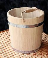 Ведро дубовое для бани 10л кольца с нержав. металла, фото 1