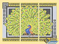Схема для полной вышивки бисером - Триптих красивый павлин, Арт. МКп-015