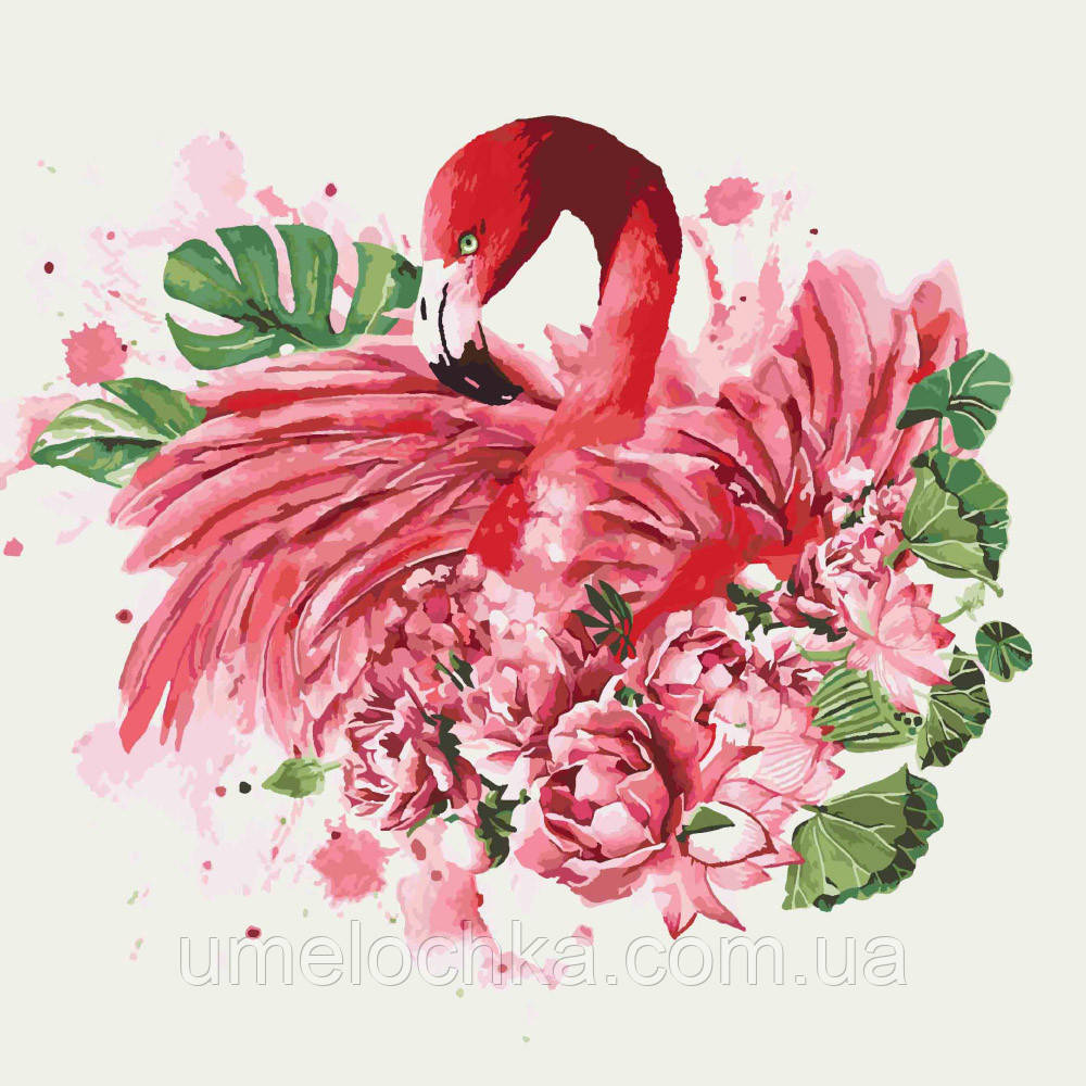 Картина по номерам Фламинго и пионы (KH4042) 40 х 40 см Идейка