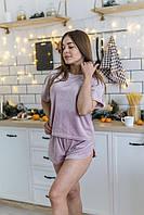 Пижама женская плюш V.VELIKA пудра-капучино (футболка+шорты) велюровая, фото 1
