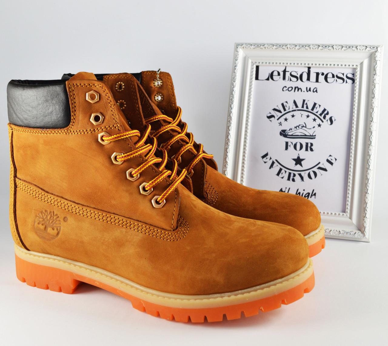 ✅ Чоловічі шкіряні черевики Timberland Classic ТЕРМО 6 inch Тімберленд бежеві коричневі