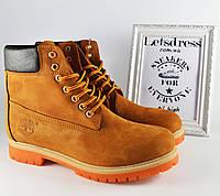 Мужские кожаные ботинки Timberland Classic ТЕРМО 6 inch Тимберленд бежевые коричневые