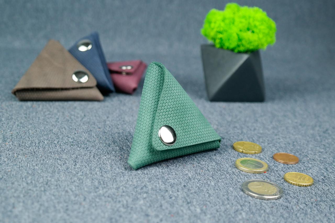 Шкіряна монетниця, Вінтажна шкіра, колір Зелений, відбиток №4