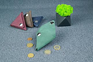 Шкіряна монетниця, Вінтажна шкіра, колір Зелений, відбиток №4, фото 3