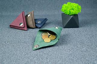 Шкіряна монетниця, Вінтажна шкіра, колір Зелений, відбиток №4, фото 2