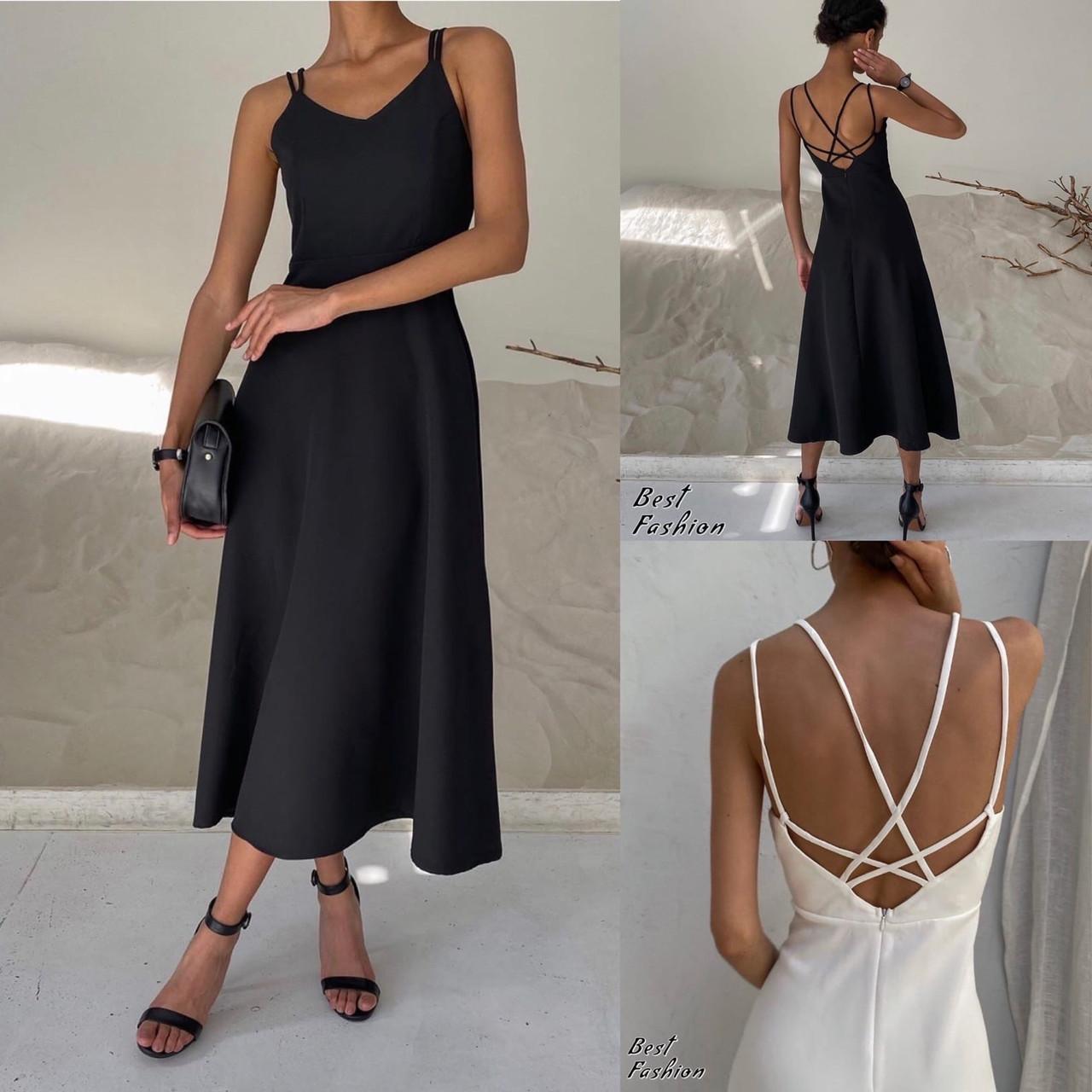 Летнее платье-комбинация на узкой бретеле с фигурной спинкой, 2цвета, Р-р.42-44, 44-46 Код 445Ц