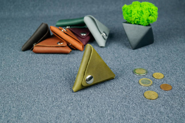 Кожаная монетница, Винтажная кожа, цвет Оливковый, фото 2