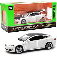Машинка игровая автопром Тесла металл, 14 см, белый, свет, звук, двери открываются (6614)