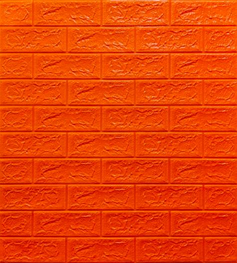3Д панель декоративная самоклеющаяся под кирпич Оранжевый 5 мм