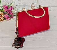 Вечірня сумочка велюрова червона