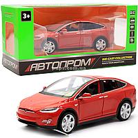 Машинка игровая автопром Тесла металл, 16 см, красный, свет, звук, двери открываются (6603)