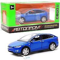 Машинка игровая автопром Тесла металл, 16 см, синий, свет, звук, двери открываются (6603)