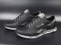Чоловічі шкіряні кросівки Reebok чорні туфлі в стилі Рібок