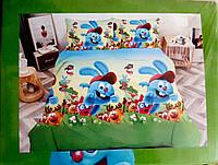 """""""смешарики"""" комплект постельного белья полуторный 150/220 с детским рисунком, ткань сатин 100% хлопок"""
