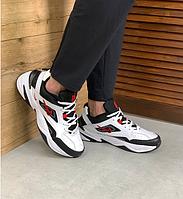 Мужские кроссовки Nike M2K Tekno White Black Red / Найк М2К Текно кожаные черно-белые с красным
