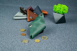 Шкіряна монетниця, Вінтажна шкіра, колір Зелений, фото 3