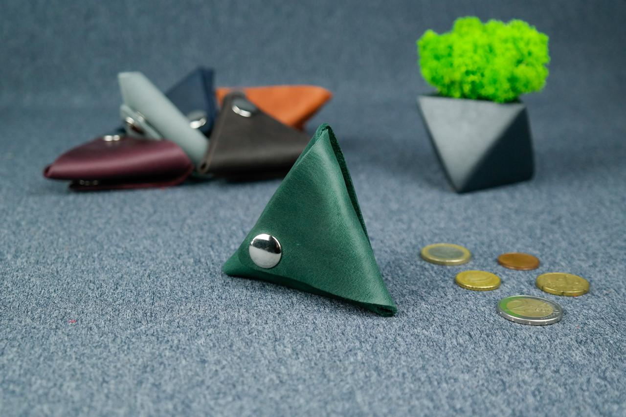 Шкіряна монетниця, Вінтажна шкіра, колір Зелений
