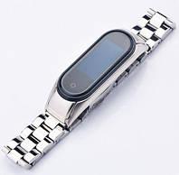 Металлический ремешок - браслет с литыми звеньями для Xiaomi Mi Band 3/4 на защелках  серебро!