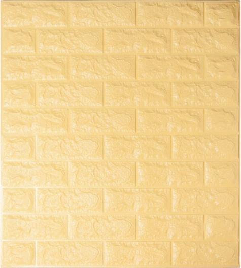 3Д панель декоративная самоклеющаяся стеновая под кирпич Бежевый 7 мм