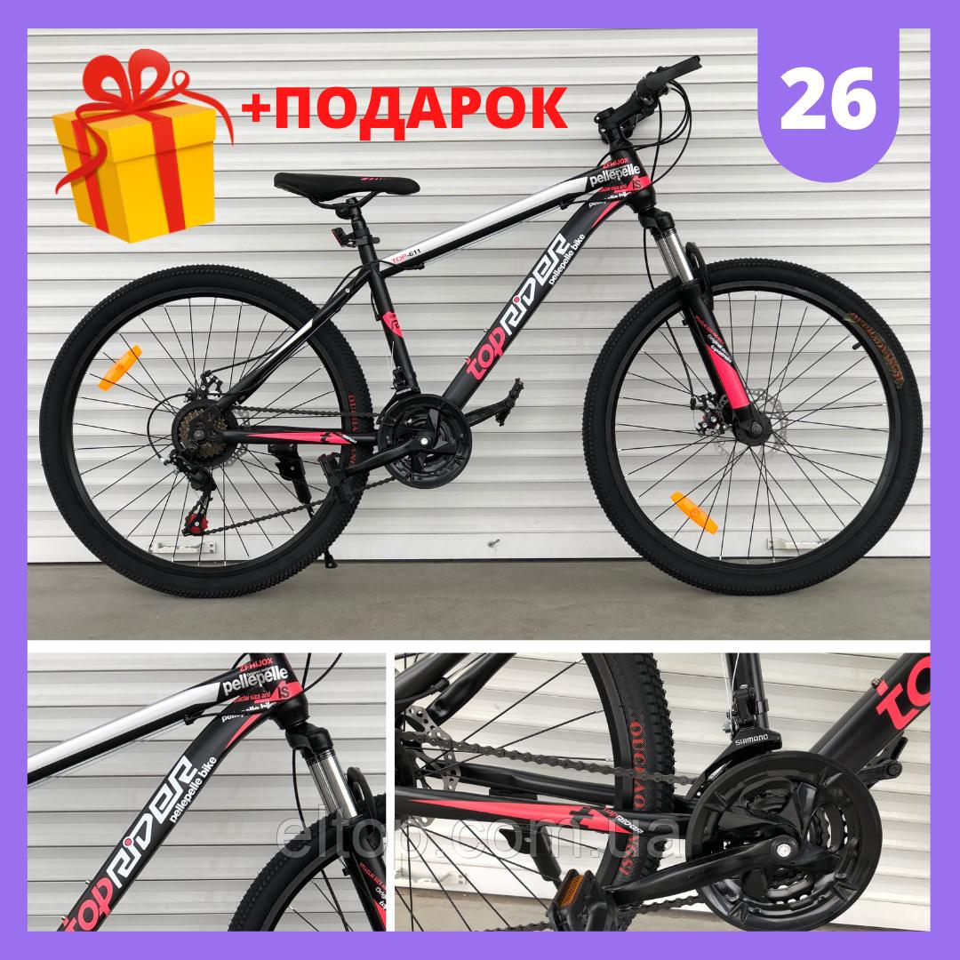 Спортивный горный велосипед Toprider 611 26 дюймов колеса Розовый Спортивный велосипед Топ райдер