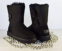 Угги женские Ugg Bailey Button Black  Australia | Угги черные короткие с пуговицей Бали Буттон 37, 38