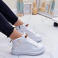 Женские кроссовки высокие демисезонные белые