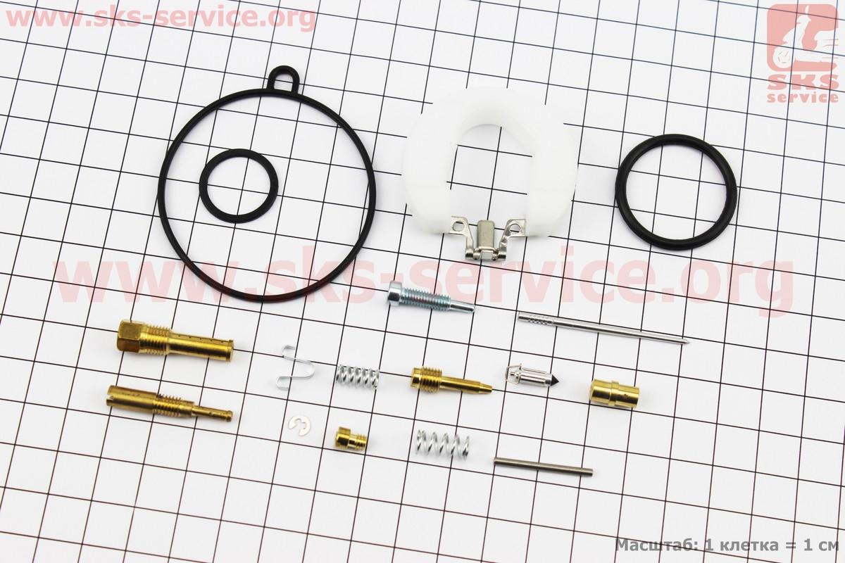 Ремонтний к-кт карбюратора 110сс, 16 деталей + поплавок на мопед Delta