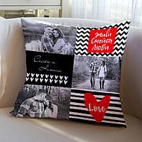 """Подушка с вашими фото """"Живи, Смейся, Люби"""", 40x40 см"""