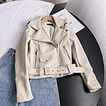 Женская куртка - косуха, экокожа, р-р M(42); L(44) (айвори), фото 2
