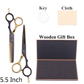 Перукарські ножиці для стрижки волосся. Професійний перукарський набір прямі й філіровочні ножиці