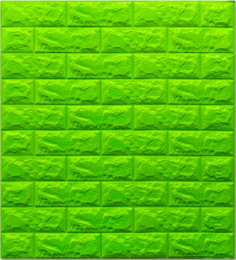 Самоклеюча 3D панель під цеглу Зеленого кольору 7 мм (в упаковці 10 шт)