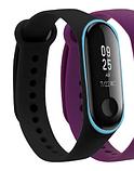 Силиконовый двухцветный чёрный с голубой полоской ремешок на фитнес трекер Xiaomi mi band 4 / 3 браслет, фото 2