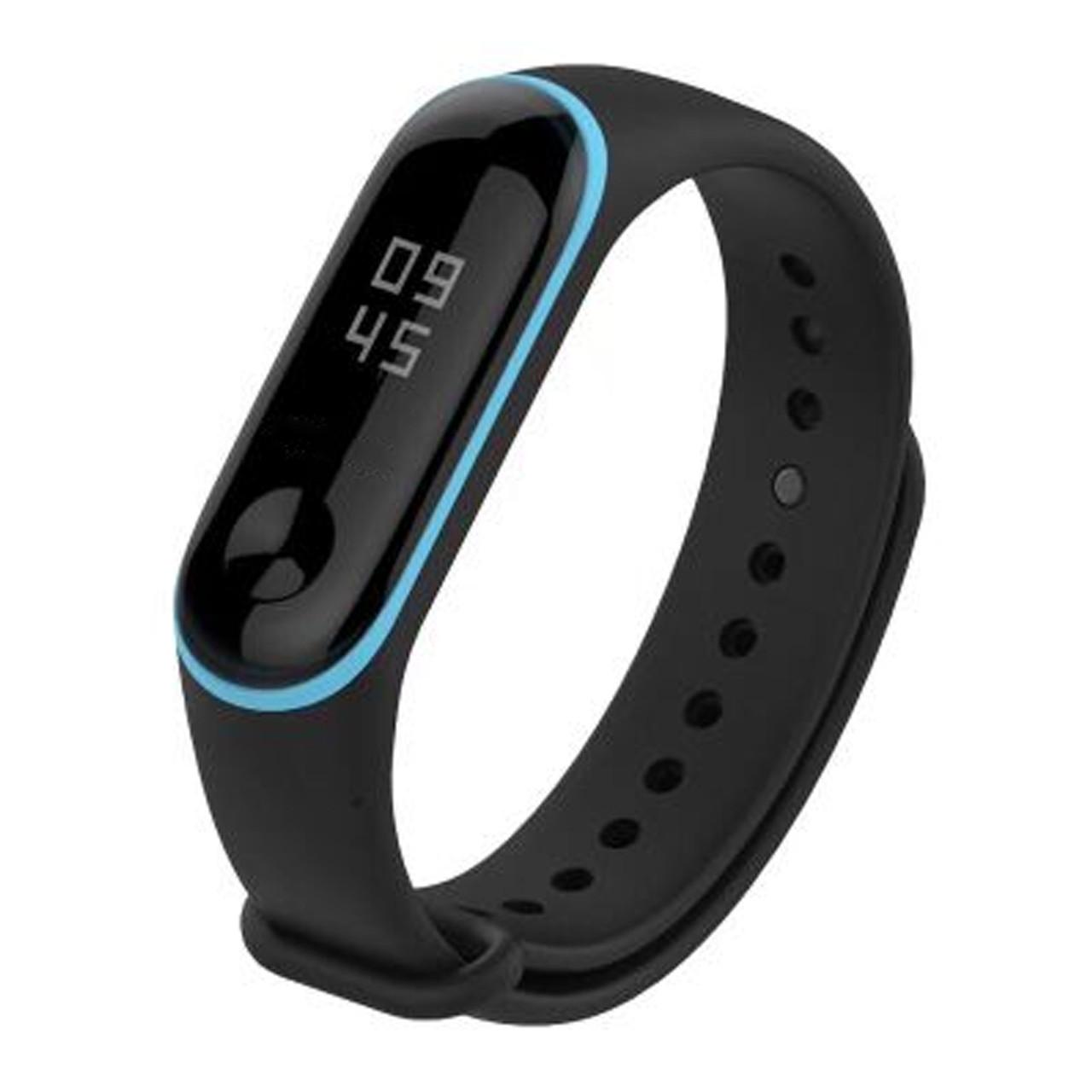 Силиконовый двухцветный чёрный с голубой полоской ремешок на фитнес трекер Xiaomi mi band 4 / 3 браслет