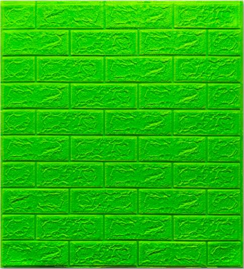 Самоклеющиеся 3Д панели, декоративные стеновые панели 5 мм, Зеленый кирпич