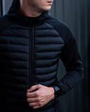 Мужская черная спортивная куртка норс весна-осень. Мужская черная стеганая демисезонная стильная парка бомбер., фото 2
