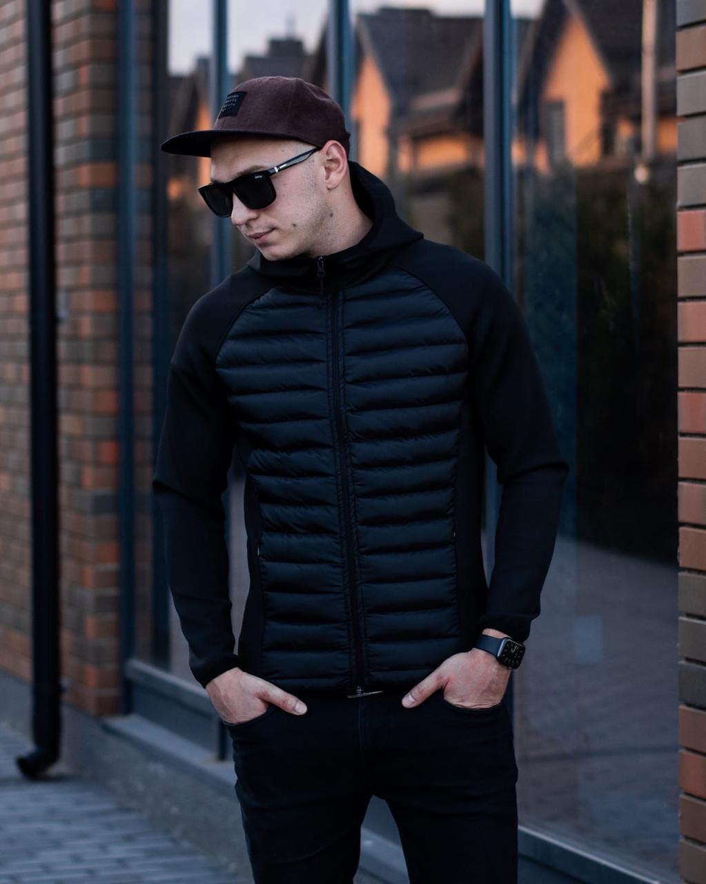 Мужская черная спортивная куртка норс весна-осень. Мужская черная стеганая демисезонная стильная парка бомбер.